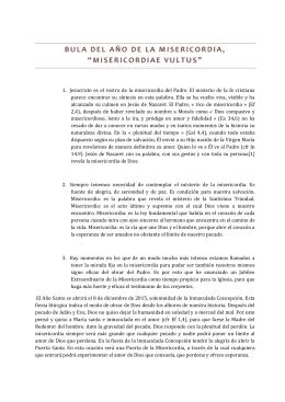 """BULA DEL AÑO DE LA MISERICORDIA, """"MISERICORDIAE VULTU S"""""""