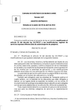 1 CAMARA DE DIPUTADOS DE BUENOS AIRES Período 142º