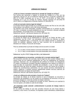 JORNADA DE TRABAJO - Ministerio de Trabajo