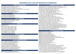 multiservicios lista de productos generales - Multiservicios