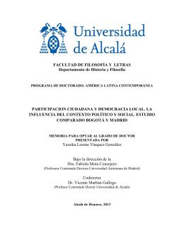 FACULTAD DE FILOSOFÍA Y LETRAS Departamento de Historia y