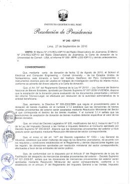 N° 246 - IGP/10 CONSIDERANDO: - Instituto Geofísico del Perú