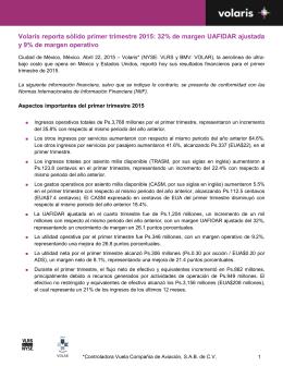 Volaris reporta sólido primer trimestre 2015: 32% de margen