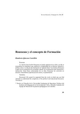 Rousseau y el concepto de Formación