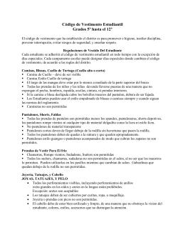 Código de Vestimento Estudiantil Grados 5º hasta el 12º
