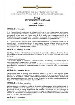 ESTATUTOS DE LA FEDERACIÓN DE COLOMBICULTURA DE LA