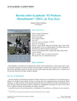 "Reseña sobre la película ""El Profesor (Detachment)"" (2011), de"