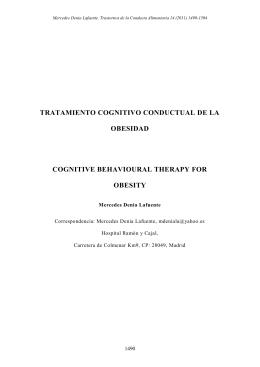 TRATAMIENTO COGNITIVO CONDUCTUAL DE LA OBESIDAD