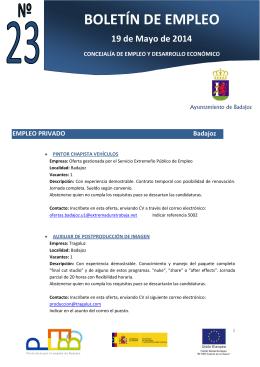 Boletín 23 Empleo y Desarrollo Económico