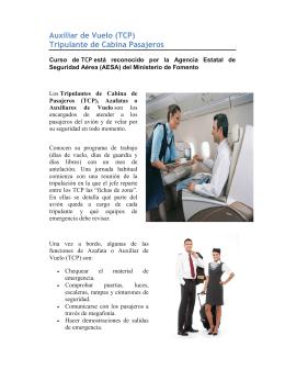 Auxiliar de Vuelo (TCP) Tripulante de Cabina Pasajeros
