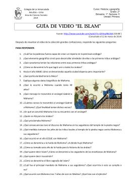 """Guía de video """"el ISLAM"""" - Ciencias Sociales 2014 Colegio de La"""
