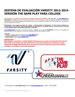 sistema de evaluación varsity 2013