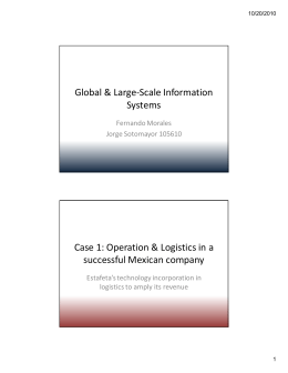 Global & Large-Scale Information Systems Case 1: Operation