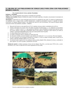 10. MEJORA DE LAS POBLACIONES DE CONEJO (SOLO PARA