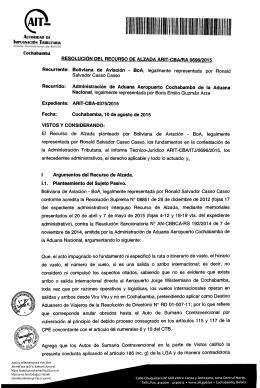 Cochabamba Recurrente: Boliviana de Aviación