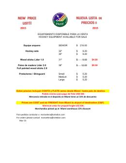Equipamiento de hockey en venta por PAHF