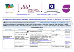 Descarga Pdf horarios Provincia de Palencia