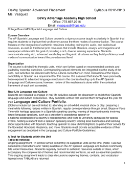 DeVry Spanish Advanced Placement Syllabus 2012