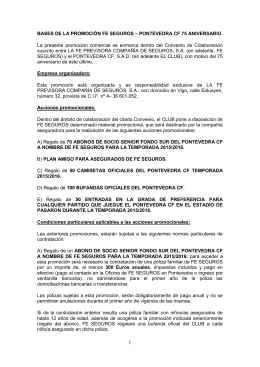 BASES DE LA PROMOCIÓN FE SEGUROS – PONTEVEDRA CF 75