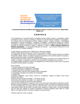 XXXIV Congreso Nacional de Medicina Homeopática