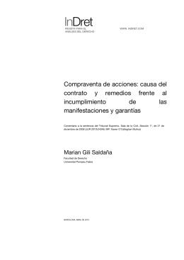 Compraventa de acciones: causa del contrato y remedios