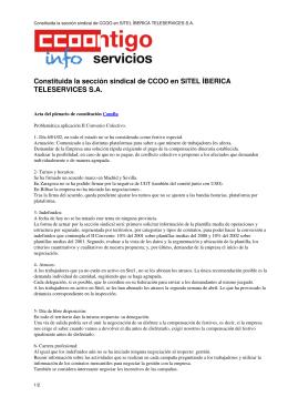 Constituida la sección sindical de CCOO en SITEL ÍBERICA