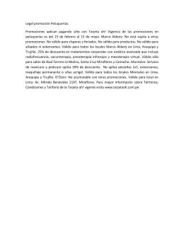 Legal promoción Peluquerías: Promociones aplican