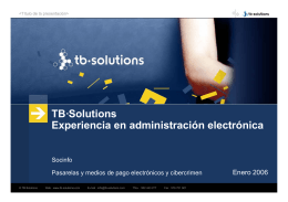 TB·Solutions Experiencia en administración electrónica