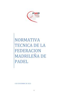 normativa tecnica de la federacion madrileña de padel