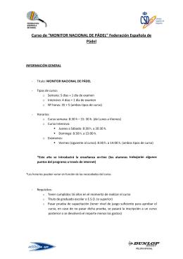 """Curso de """"MONITOR NACIONAL DE PÁDEL"""" Federación Española"""