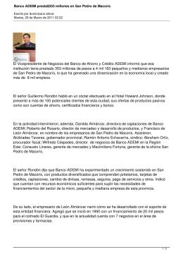 Banco ADEMI presta$353 millones en San Pedro de Macorís