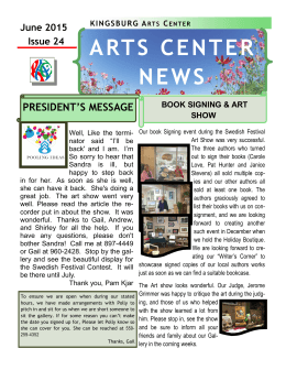 ARTS CENTER NEWS - Kingsburg Arts Center