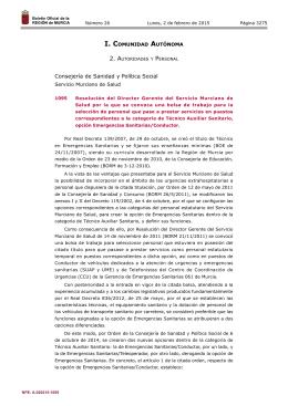 Emergencias Sanitarias/Conductor - Boletín Oficial de la Región de