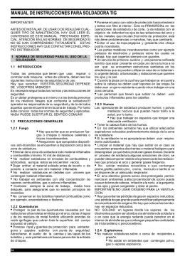 MANUAL DE INSTRUCCIONES PARA SOLDADORA TIG
