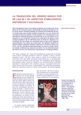 LA TRADUCCIÓN DEL GÉNERO BÁSICO POP DE LOS 80 Y 90