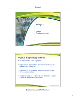 Biología I Objetivo de aprendizaje del tema