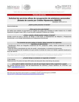 Estado de cuenta por Crédito Hipotecario ISSSTE