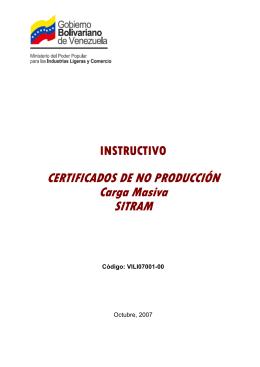 CERTIFICADOS DE NO PRODUCCIÓN Carga Masiva SITRAM