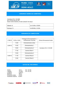 horarios cierre de carretera horarios de competición datos del