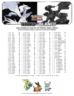 Lista completa de cartas de JCC Pokémon Negro y Blanco