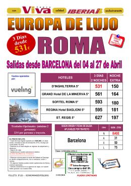 Roma Lujo 2 Noches desde 531 Eur