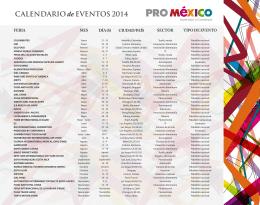 CALENDARIO de EVENTOS 2014