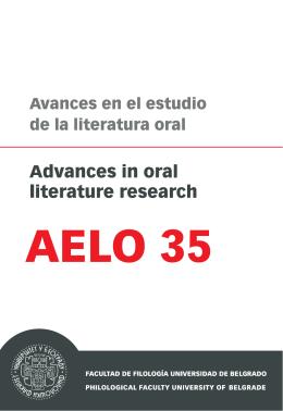 Avances en el estudio de la literatura oral