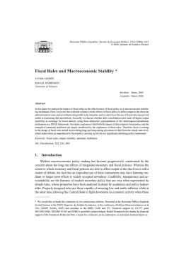 Fiscal Rules and Macroeconomic Stability *