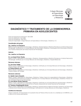 diagnóstico y tratamiento de la dismenorrea primaria en