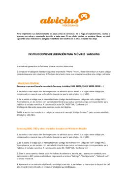 INSTRUCCIONES DE LIBERACIÓN PARA MÓVILES SAMSUNG
