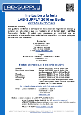 LAB-SUPPLY 2016 Berlin, June 08th, 2016, 9.30 am until 3.30 pm