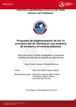 Propuesta de implementación de los 14 principios del Dr. Deming