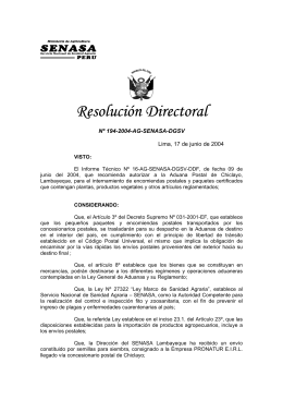 Resolución Directoral N° 186-2004-AG-SENASA