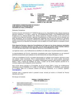 012/2009 - Dirección General de Servicios Aduaneros